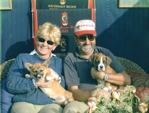 Karen Healey and Fred Bauer with Samson and Delilah
